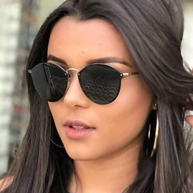 la mejor actitud b959a 50aef 2019 nueva moda gafas de sol sin montura para mujer de marca de diseñador  espejo Vintage redondo ojo de gato gafas de sol para mujer