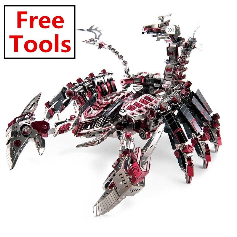 Microworld 3D bricolage métal militaire Puzzle rouge Devils Scorpion modèle Puzzle éducatif laser découpe cadeaux jouet pour enfants