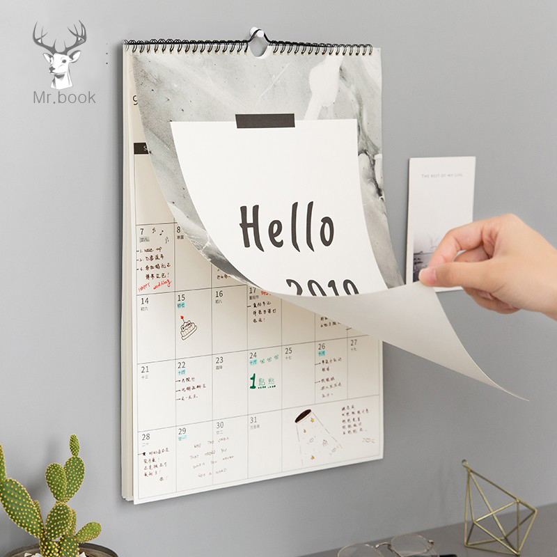 Hello 2019 Ins Nordic Style Calendar To Do List Agenda Wall ...