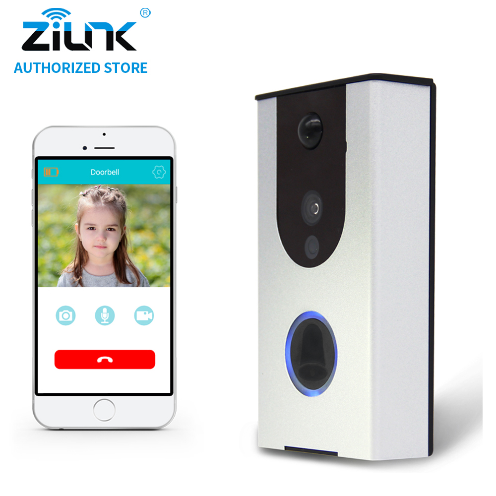 ZILNK Battery WiFi Doorbell Cloud Storage Video Doorphone PIR Night Vision Video Intercom Built-in 8GB TF Card Waterproof Silver et16 intelligente scanner portatile con 34 lingue ocr e wifi connect per czur cloud storage