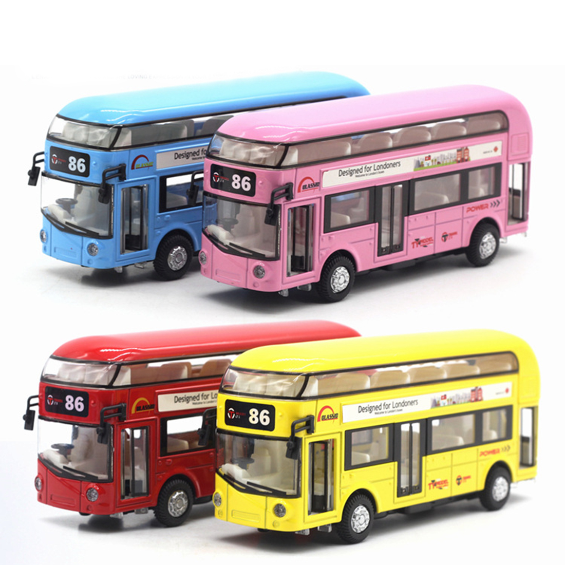 Alloy Double Children Layers Tourist Bus Pull Back Model Car Fitness Kid Educational Toy > 3 years old