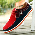 Leather men 's fashion casual shoes scrub leather new red and blue breathable men' s shoes to help young Peas shoes 8191