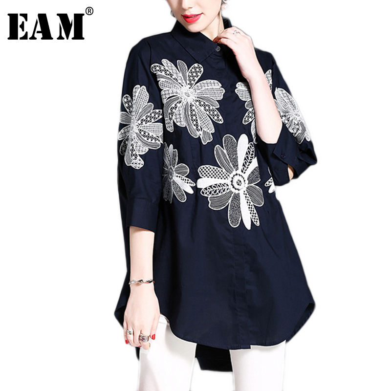 WKOUD EAM2018 New Autumn Fashion Navy Blue White Embroidery Floral Turn-down Collar Loose Big Size Irregular Woman Shirt S01600S