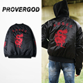 PROVERGOD Gang Style Mens MA1 Coats Bomber Jackets 3D Embroidery Long Sleeve Warm Coat Overcoat Chinese Art S-2XL