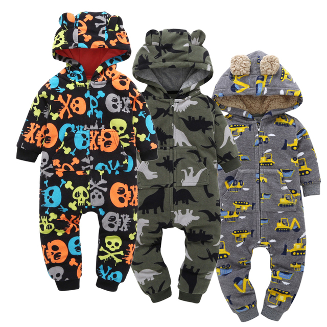 new baby boy clothes bones dinosaurs full print hoodie rompers with round ears autumn fashion baby boy hoodies kid costume