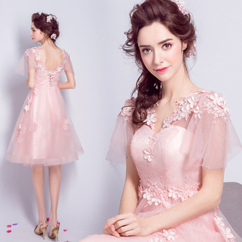 2017 new arrival stock maternity plus size bridal gown pregnant evening dress pink short lace sexy beaded short sleeve 5906