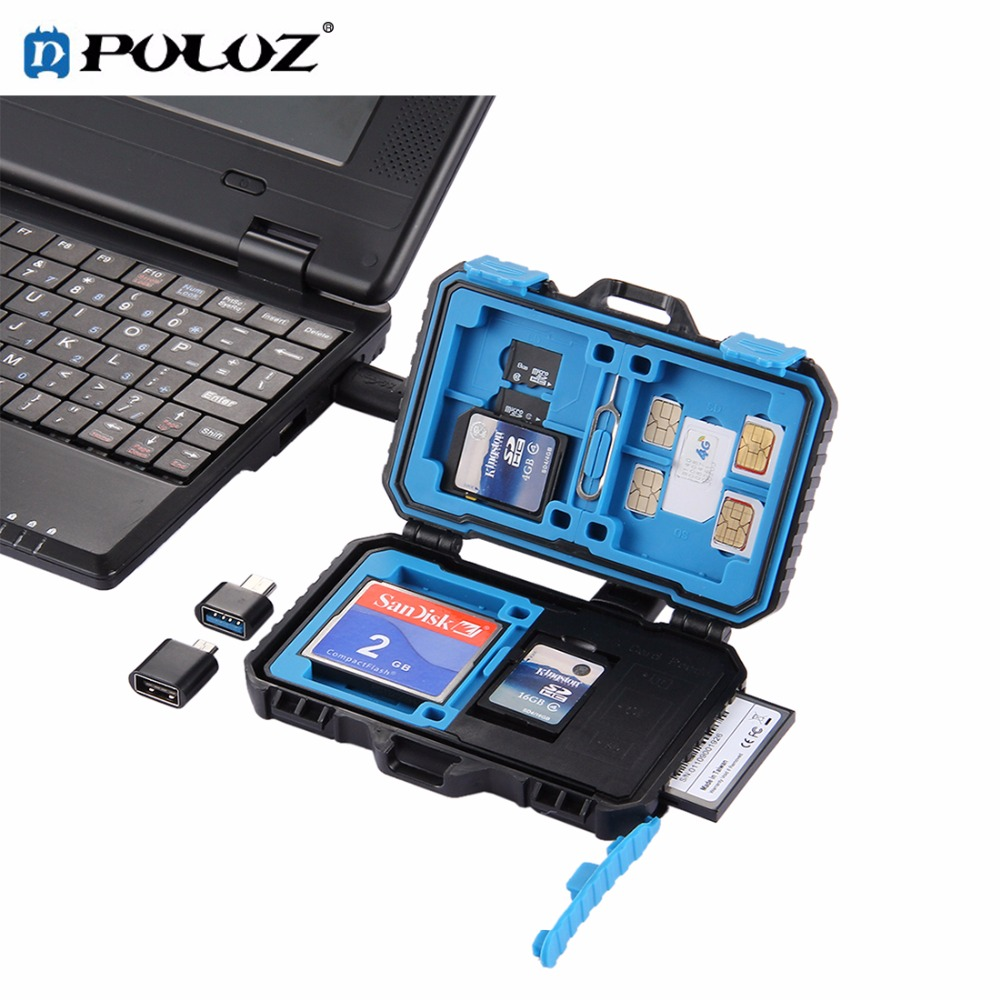 PULUZ Memory Card Reader USB 3.0 SD CF TF Reader with OTG Fuction & 21 Slots Waterproof SD CF TF SIM Cards storage Case Holder