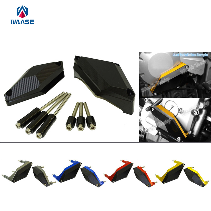 waase Engine Crash Pads Frame Sliders Protector For Yamaha XJ6 XJ6N XJ6S XJ6F DIVERSION 2009 2010 2011 2012 2013 2014 2015 -2017 motorcycle frame sliders crash engine guard pad aluminium side shield protector for kawasaki ninja zx6r 636 2009 2010 2011 2012