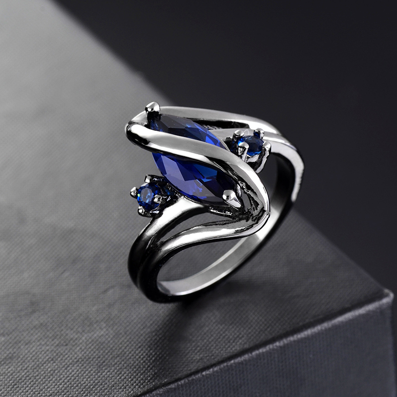 2019 New Brand Jewelry gun black Color Elegant Rings With A Big Purple and blue CZ Best Gift For Women Gift J02801 in Rings from Jewelry Accessories