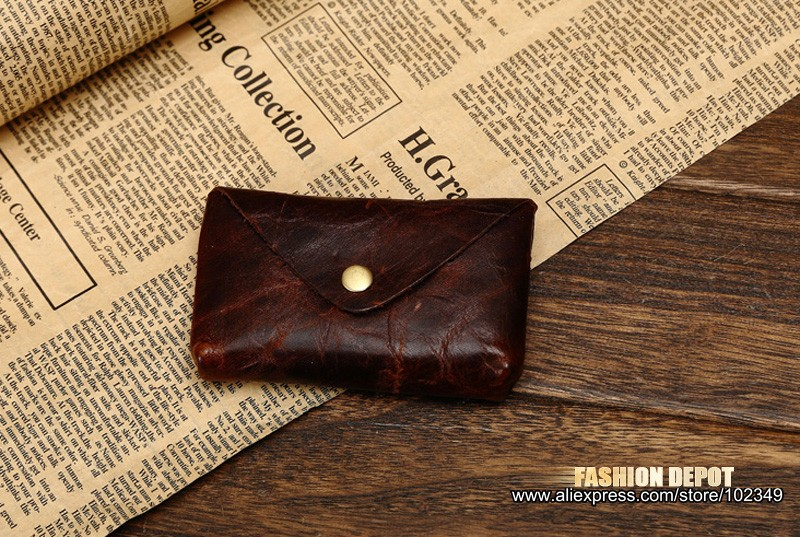 Oil Waxed Dark Brown Credit Card Wallet Card Bag Coin Wallet man and women (12)
