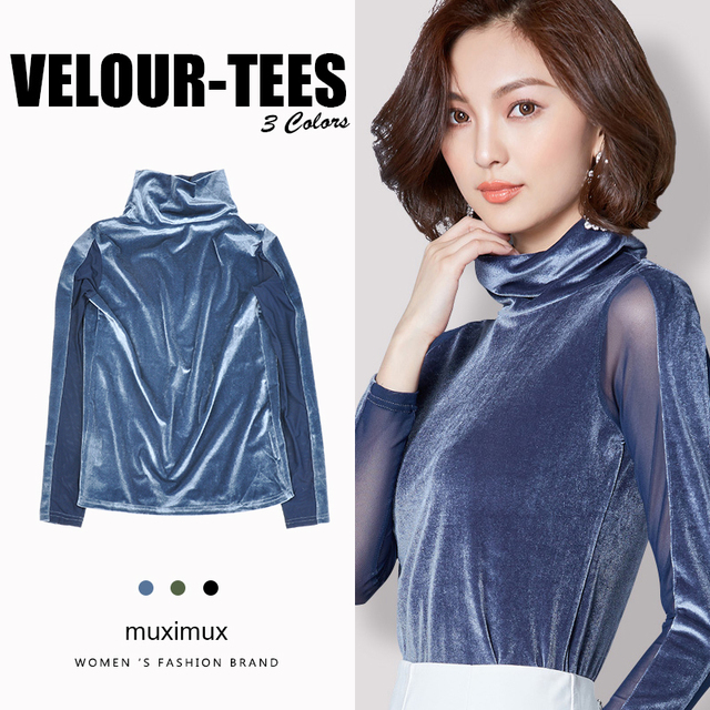 74b4f6492eb Muximux 2018 Autumn Women Tshirts Office Pullover Top Tees Solid O-neck  Long Sleeve Winter Base Top Tees Velour T-shirts Women