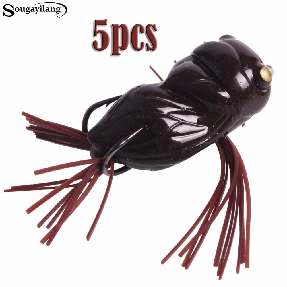 Sougayilang 5pcs/lot Fishing Lure Cicada Frog soft lure 4g Bass Snakehead Topwater bait Fishing Lures Fishing Tackle de pesca anmuka frog fishing lures kit snakehead lure topwater floating frog baits with box pesca isca artificial