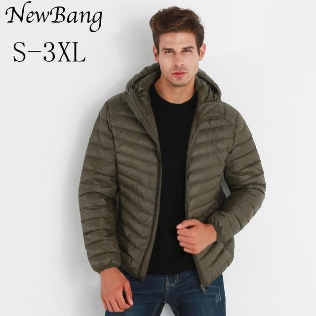 NewBang ブランド軽量男性フード付きアヒルダウンジャケット超軽量ダウンジャケット男性ポータブル防風暖かいコートフェザーパーカー男
