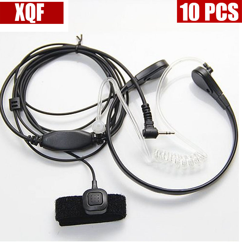 10PCS Throat Mic Microphone Covert Acoustic Tube Bodyguard Earpiece Headset With Finger PTT For Motorola Talkabout Cobra Radio