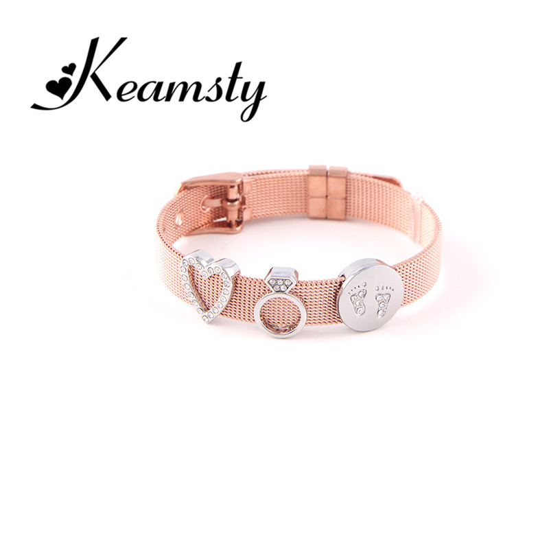 Keamsty Rose Gold Bracelet Crystal Love Charms Bracelets Set Stainless Steel Mesh with Slide Charms Keepers as Women Gift цена