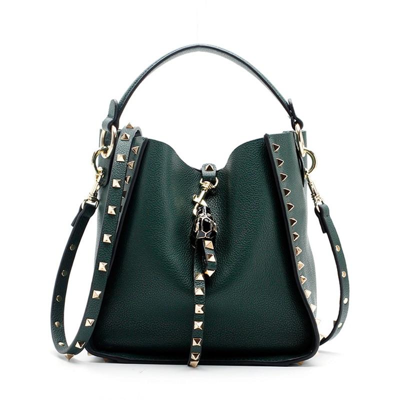 Большой бренд 2018 Новинка зимы Для женщин кожаный кошелек и сумки заклепки Дизайн er Crossbody сумки новый Дизайн сумка 890
