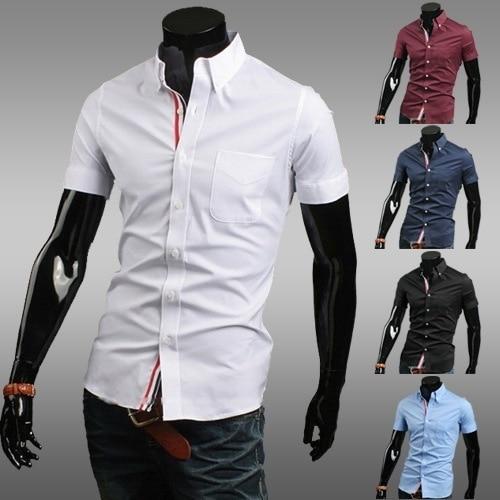 Hombres camiseta Slim Fit manga corta de moda sociales