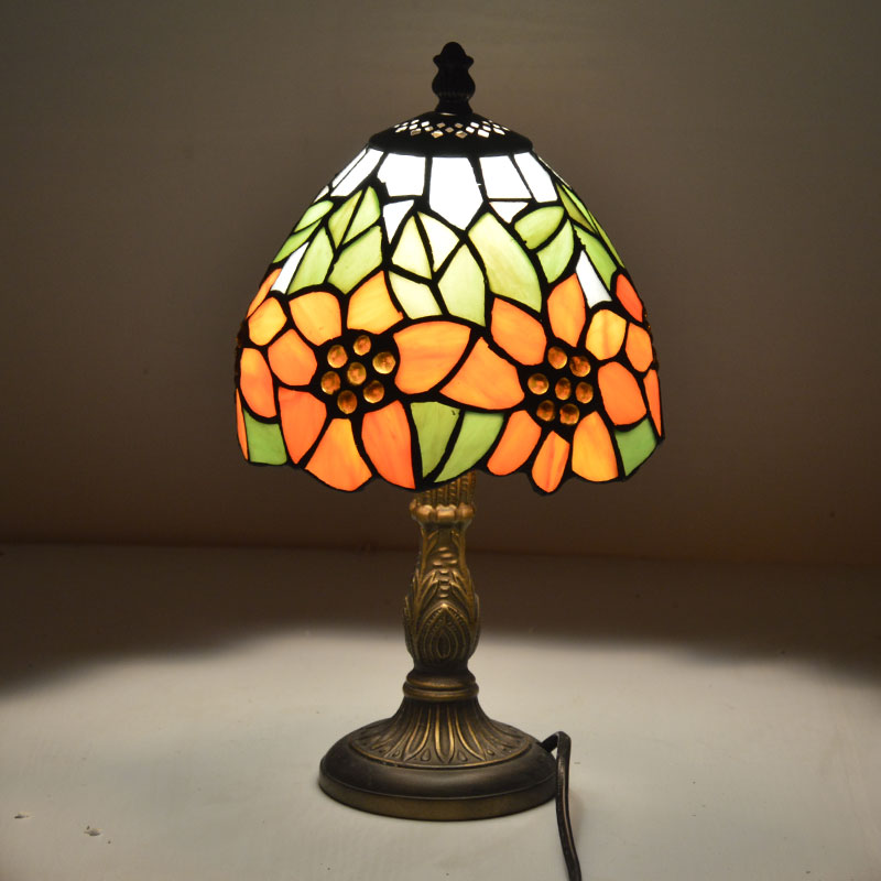 Tiffany Small Table Lamp Country Sunflower Stained Glass Bedside Lamp E27 110-240V