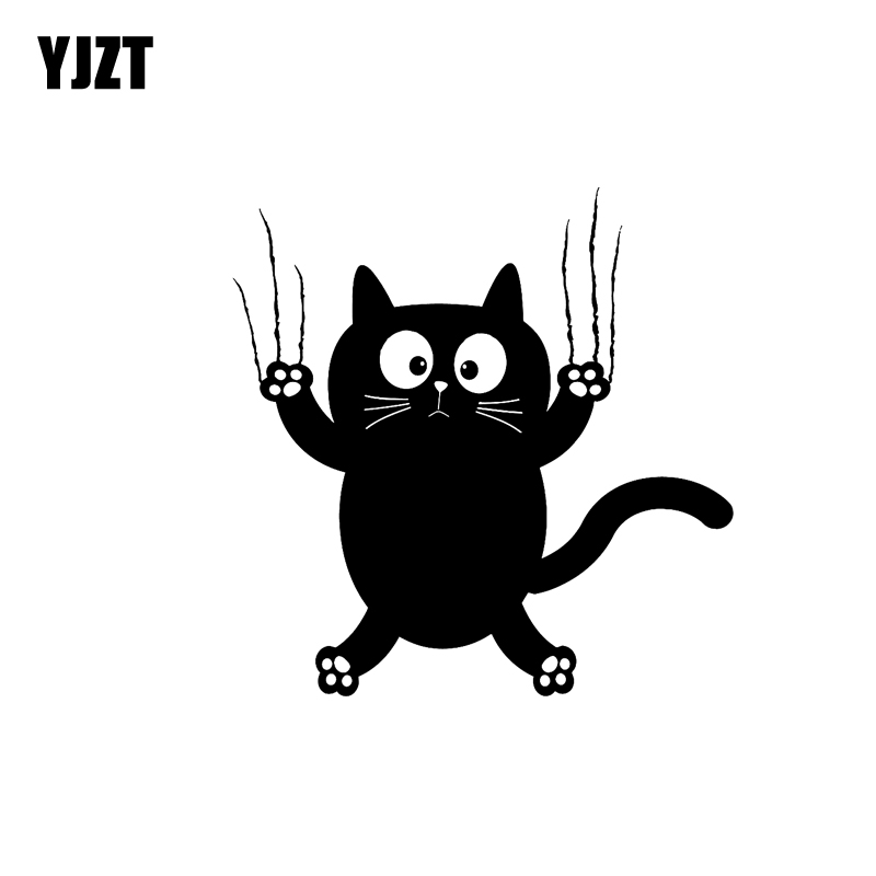 YJZT 14.4CM*14.6CM Vinyl Decal Funny Cat Pet Animal Car Stickers Black Silver C10-02375