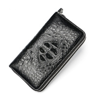 Real Crocodile Pattern Coin Purses Card Holder Genuine Leather Men Long Wallets Men's Alligator Long Clutch Bags Double Zipper