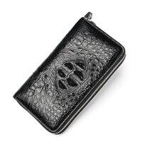 Real Crocodile Pattern Coin Purses Card Holder Genuine Leather Men Long Wallets Men's Alligator Long Clutch Bags Double Zipper