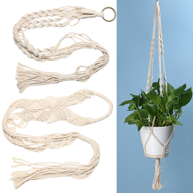 90/92cm Vintage Knotted Plant Hanger Basket Braided Jute Rope Green Flowerpot Holder Home Balcony Decoration