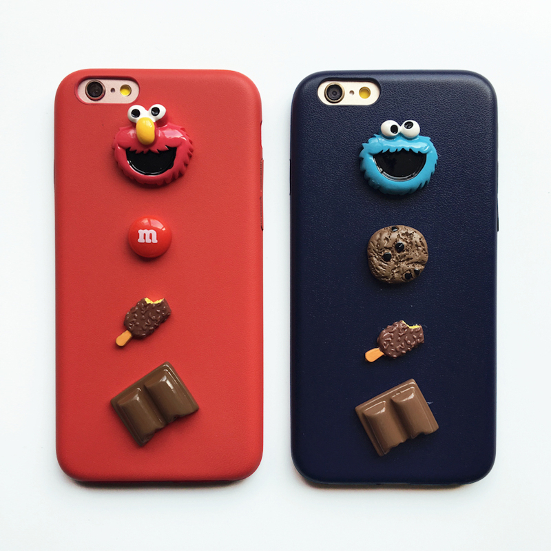 <font><b>3D</b></font> Sesame Street Cookies Elmo <font><b>Cartoon</b></font> case for <font><b>iPhone</b></font> 8 7 6 6S Plus 11 pro X Xs Max Xr Cute Happy soft leather cover coque image