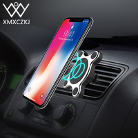 XMXCZKJ Qi Wireless Charger Car Air Vent Dashboard Mount 2 In 1 Magnetic Mobile Phone Holder