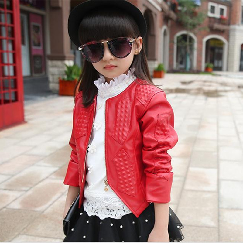 Spring Autumn Kids Girl Leather Jacket Children's Clothing Cardigan Zipper Red/Black Jacket&Coat Girls Fashion Outwear 4-15Years