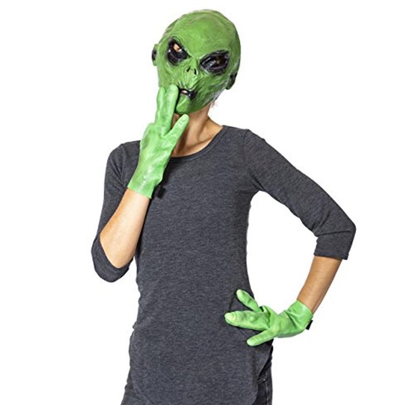 Alien маска и перчатки Хэллоуин реалистичный зеленый НЛО Alien маска для лица костюм для вечеринки Косплей страшная маска для Хэллоуина