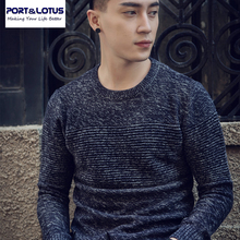 Port & Lotus Männer Gestreiften pullover Reine Farbe 100% Baumwolle Herren Marke Kleidung Pullover Männlichen Hip hop 006 5030
