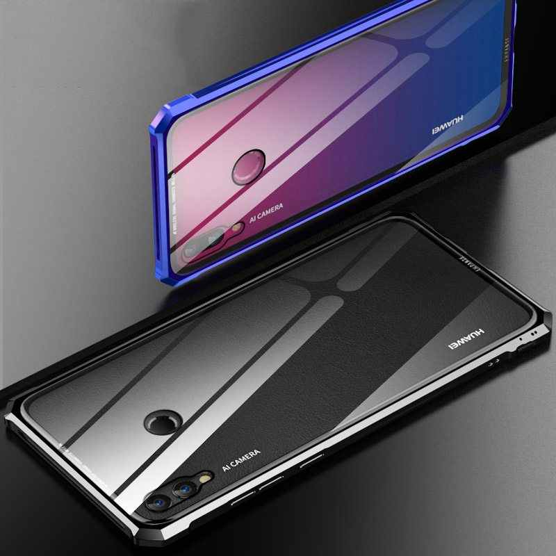 5792ca69a6 Luxury Aluminum Alloy Metal Bumper Case For Huawei Y9 2019 Aircraft Buckle Tempered  Glass Cover For