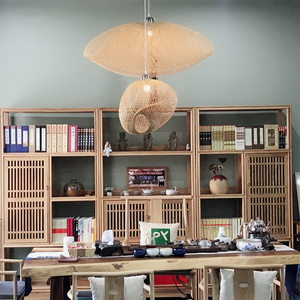Image 5 - Bamboo LED E27 Wicker Rattan Wave Shade Pendant Light Vintage Japanese Lamp Suspension Home Indoor Dining Table Room Lighting
