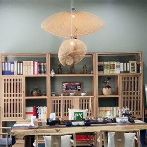 Image 5 - במבוק LED E27 נצרים קש גל צל תליון אור בציר יפני מנורת השעיה בית מקורה אוכל שולחן חדר תאורה