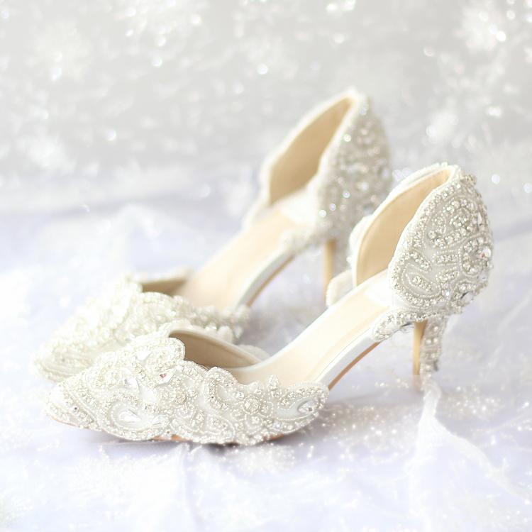 2015 New Beautiful Wedding Shoes Handmade Ivory Lace