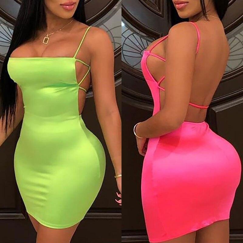 Женское уличное мини-платье OMSJ, неоново-зеленое или розовое облегающее платье, вечерние Клубные мини-платья, лето 2019