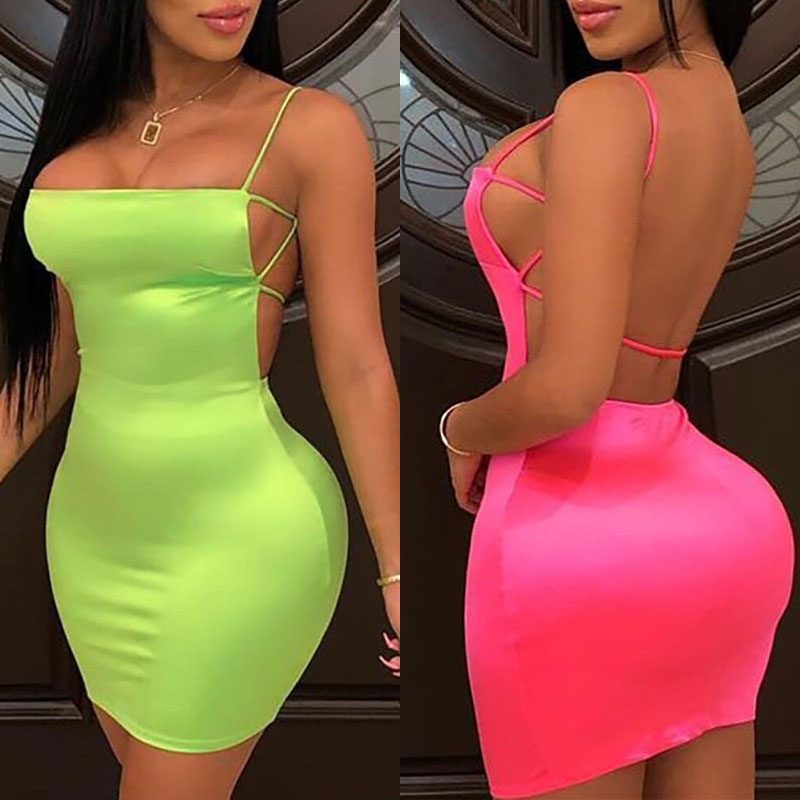 OMSJ Summer Street Neon Green Pink Bodycon Mini Dresses Vestidos Sexy Package Hips Mini Womens Party Club Dress 2019 Mini Dress