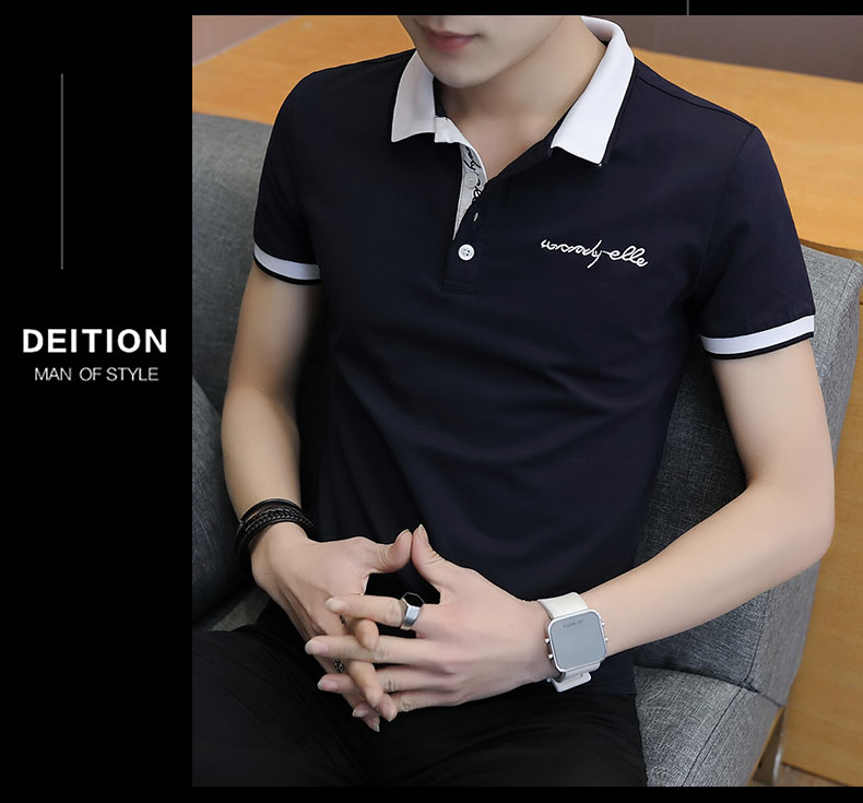 Short-sleeved T-shirt men's fashion casual cotton clothes decorated with multi-color optional 90