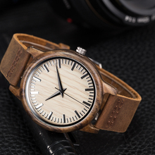 SIHAIXIN man watch in wood handcrafted 100% natural ebony male watch de leather bracelet vintage men quartz wristwatch de wood w