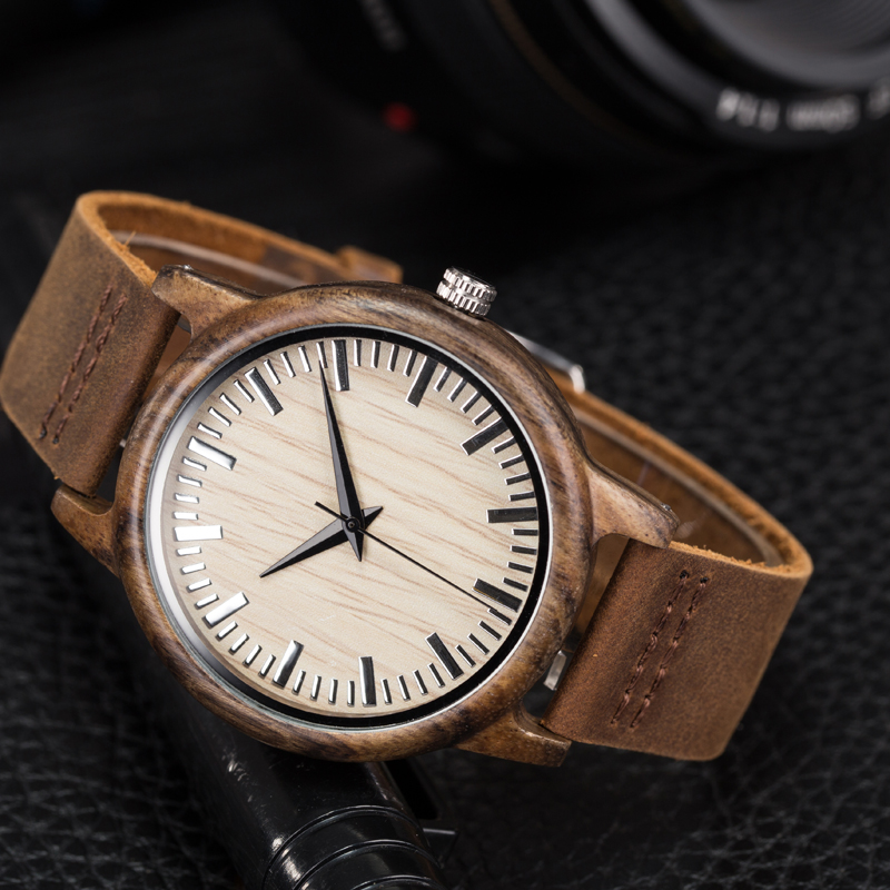 SIHAIXIN man watch in wood handcrafted 100 natural ebony male watch de leather bracelet vintage men