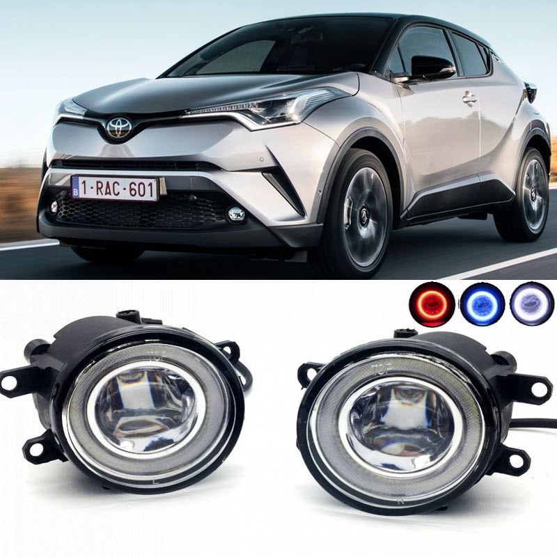 2 in 1 LED Cut-Line Lens Fog Lights Lamp 3 Colors Angel Eyes DRL Daytime Running Lights for Toyota C-HR 2016 2017 car styling 2 in 1 led angel eyes drl daytime running lights cut line lens fog lamp for land rover freelander lr2 2007 2014