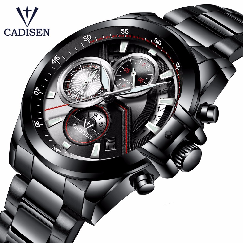 Top Luxury Brand CADISEN Men Sport Watches Men's Quartz LED Analog Clock Man Military Waterproof Wrist Watch relogio masculino sinobi men s top luxury brand sport watches men led digital waterproof stainess steel quartz watch man clock relogio masculino