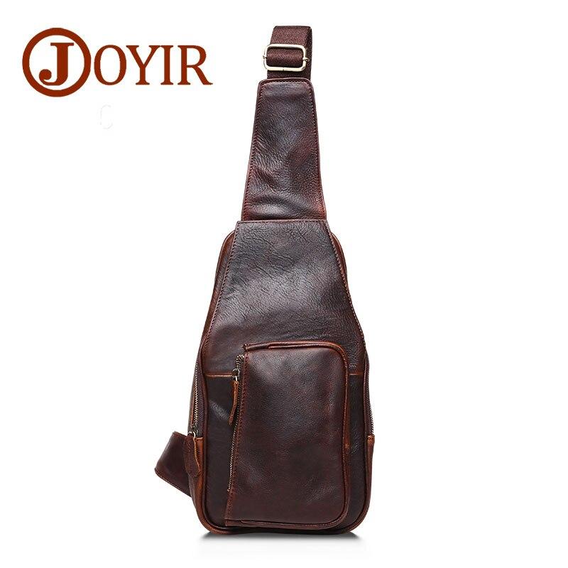 JOYIR Vintage Chest Pack Genuine Cowhide Leather crossbody chest bag small shoulder bag for male pack belt bag men bag B512