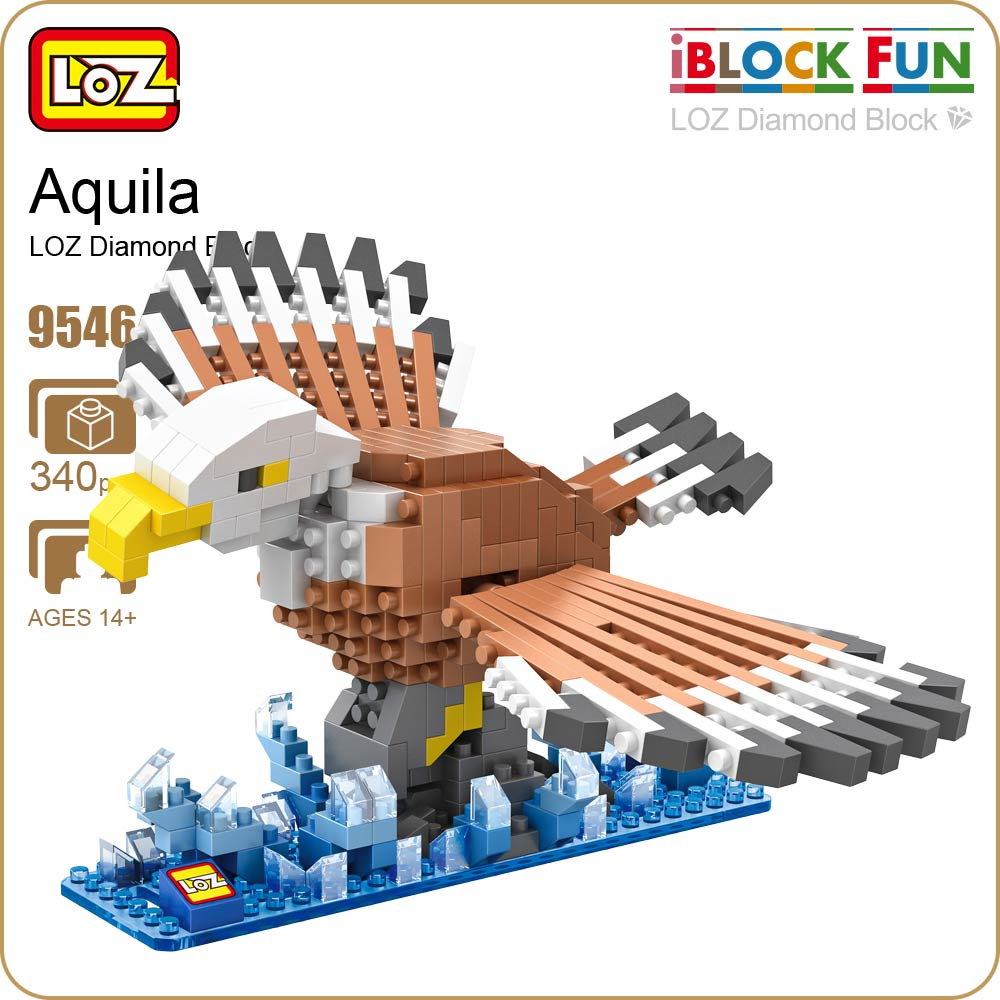 LOZ ideas Diamond Block Aquila Animals Birds Animal Bird Action Figure Building Blocks Toys Bircks Model Gift DIY Zoo Toy 9546 mr froger carcharodon megalodon model giant tooth shark sphyrna aquatic creatures wild animals zoo modeling plastic sea lift toy