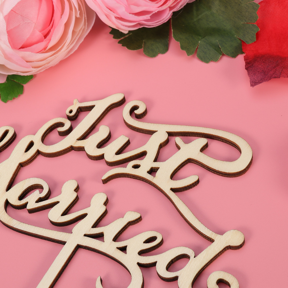 Just Married Wooden Cake Toppers Party Cake Decorating Wedding ...