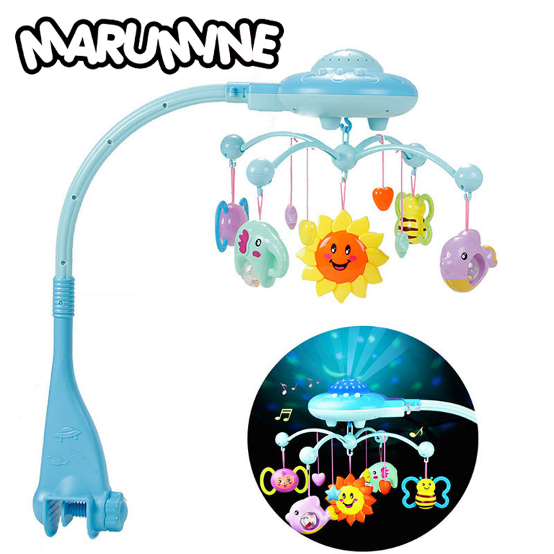 Marumine Baby Rattles Mobiles Toy Holder Rotating Crib Bed Bell With 50 Music Projection For 0