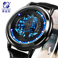 Xingyunshi couro moda Digital LED relógios para homem Luminosa militar relógios de pulso dos homens do exército estilo 1633 frete grátis