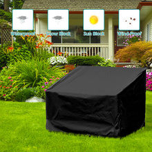 2/3/4 Seats Long Bench Dust Cover Black Polyester Waterproof UV Protection Furniture Sofa Outdoor Park Seat Dustproof Covers