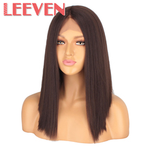 "Leeven Straight Hair Synthetic Lace Front wig Short Bob Wig 14""  T Part  Wigs For Women Black Natural Color Free Shipping"