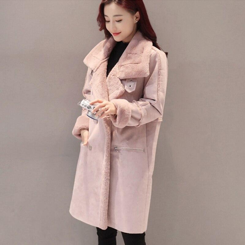 2017 De D'hiver Daim Vêtements Femelle Mode Nouveau En Femmes Gris Qh0674 Jackeat Veste Peau Grande Taille Manteau Épais rose Et Peluche Long Slim Manteaux Moutons nHAxHzq5